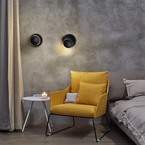 Image 3 - 크리 에이 티브 벽 조명 360 회전 5W 7W 현대 벽 램프 화이트 블랙 라운드 LED 벽 램프 장식 미술 조명