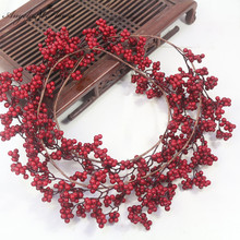 2M Christmas Garland Artificial Berry Plants Vine Green Red Berry Vine Garden Christmas Decoration Home Accessories Photo Props