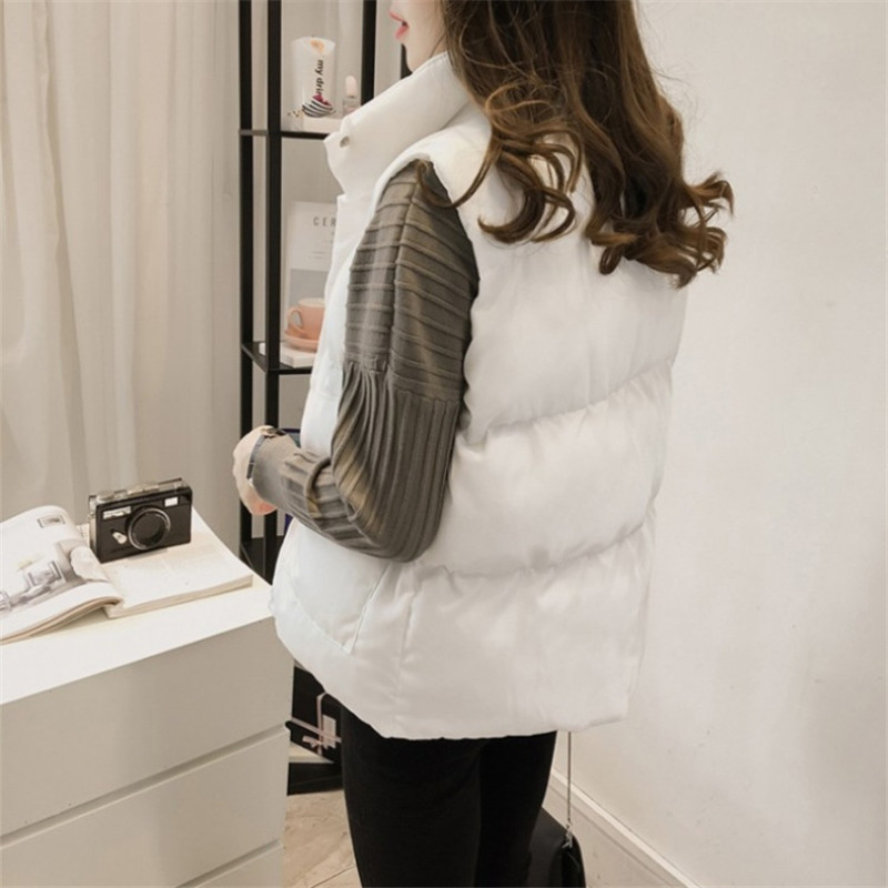 Women Winter Jackets Parkas 2019 Fashion Sleeveless Cotton Vest Thin Light Tops Slim Solid Female Coats Abrigos Mujer Invierno