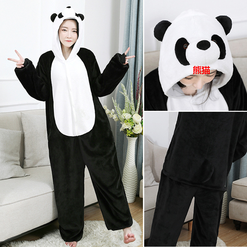 Minnie Mous Kigurumi Costumes Men Women Hooded Animal Cartoon Winter Jumpsuit Panda Onesies Dinosaur Pajamas Cosplay