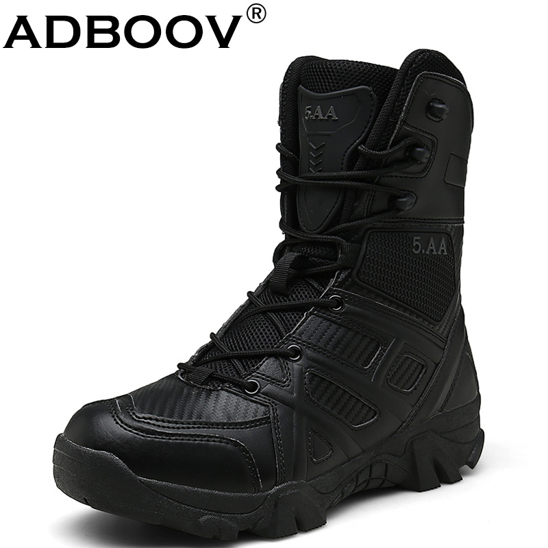 ADBOOV Army Men Tactical Boots Outdoor Winter Combat Boots Military Leather Waterproof Desert Sand Black Hiking Shoes Size 46 47