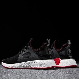 Image 2 - 2019 Fashion Men Shoes Casual Weaving Fly Mesh Breathable Light Soft Black Slipon Mens Shoe Male Trainers Sneakers Human Race