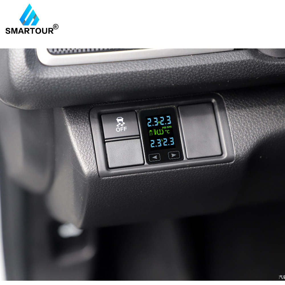 Smartour Car TPMS Tire Pressure Monitor System for Toyota with 4 sensors Wireless Alarm Systems LCD Display For car security