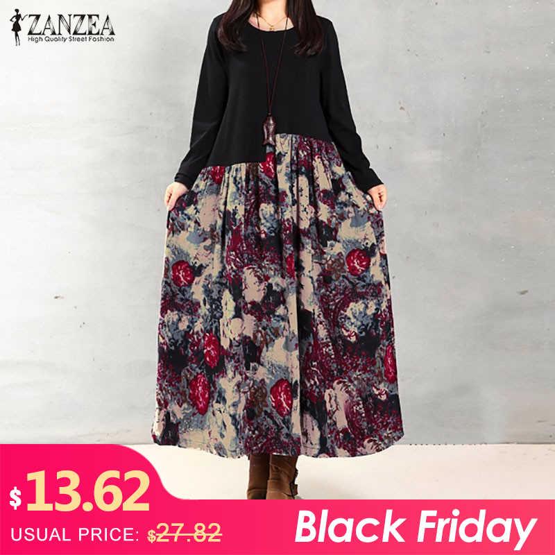 quality products los angeles authorized site Women Maxi Dress 2019 ZANZEA Autumn Casual Long Sleeve Party ...