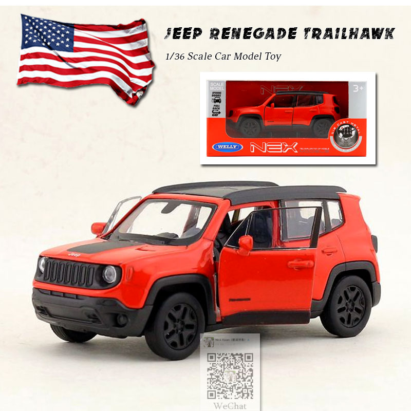 WELLY 1/36 Scale Car Model Toys Jeep Renegade Trailhawk Mini SUV Diecast Metal Pull Back Car Toy For Gift,Kids