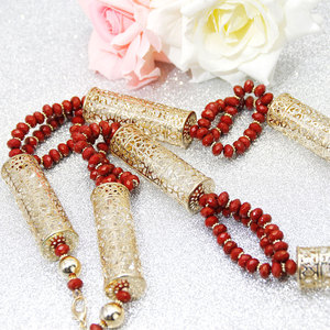 Image 2 - Sunspicems Gold Color Algerian Caftan Body Chain Necklace for Women Bust Accessory Ethnic Wedding Long Bead Jewelry Bridal Gift