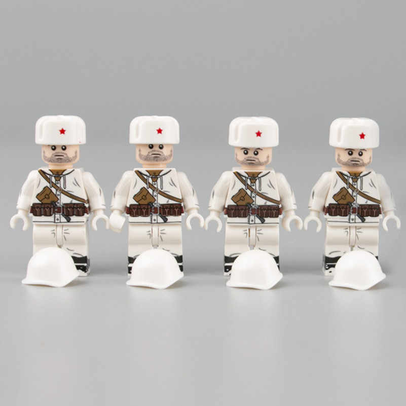 WW2 Military Army Russia Soldiers Figures Building Blocks Soviet Snow Infantry Helmet Mosin Gun Weapons Parts Bricks Toys C129