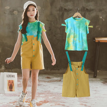 Summer Children Clothing Sets Age For 6 8 10 12 Years Girls Cotton T shirt + Overalls Suit 2020 New Teen Kids Clothes Tracksuits new spring autumn girls clothing sets kids sports suit casual girls cartoon t shirt pant 2pcs children clothes 4 6 8 10 12 years