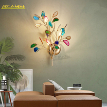 Nordic Branch Agate Wall Lights Lighting Modern Multicolored Blade LED Wall Lamp Bedroom Bedside Living Room Home Decor Wandlamp