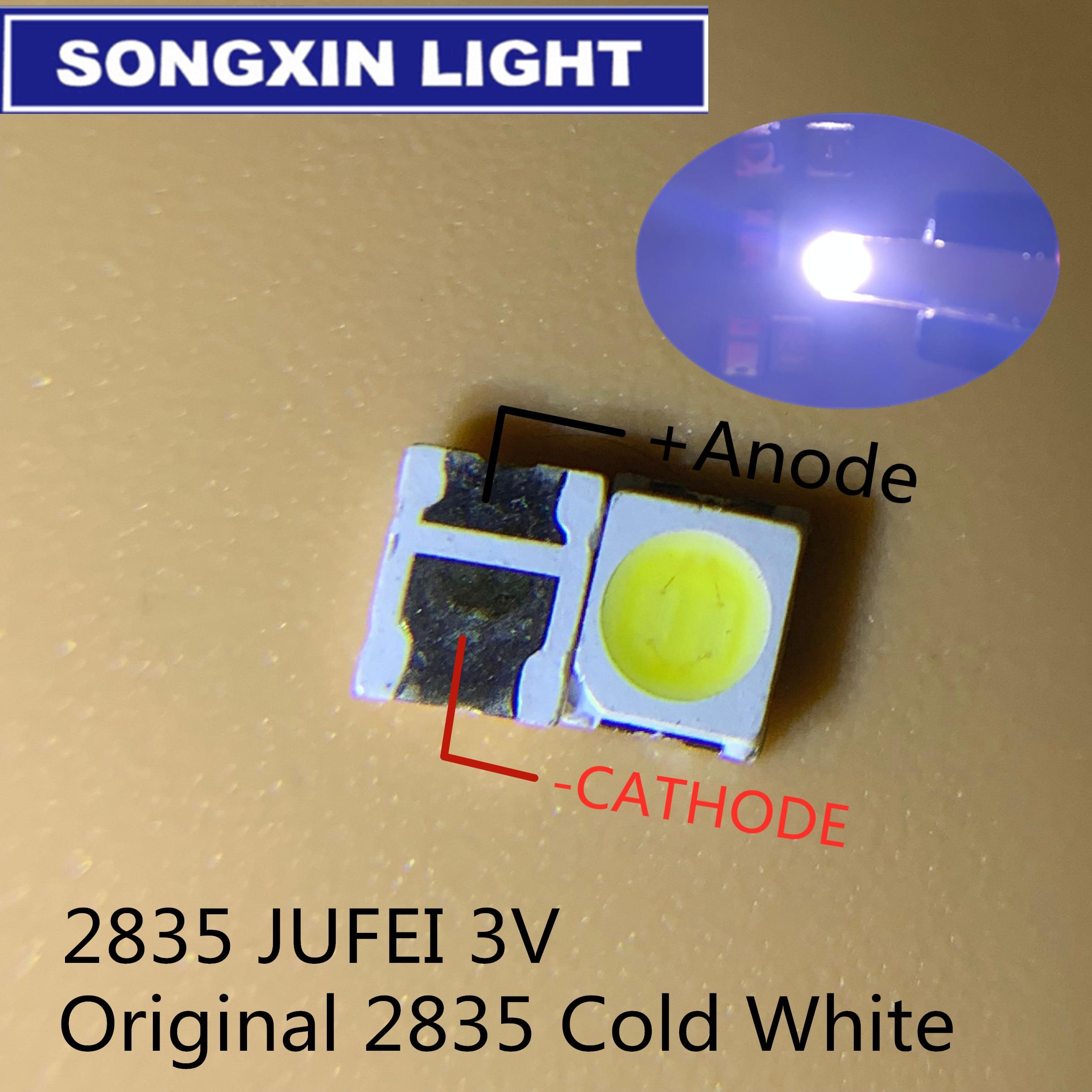 1000 pces jufei led backlight 1210 3528 2835 1 w 3 v 107lm branco fresco retroiluminação lcd para tv aplicação 01. JT.2835BPWP2-C