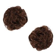 Free Beauty Synthetic Curly Chignon Ombre Rubber Band Women Auburn Hair Bun Donut Chignons Marron Heat Resistant Fiber 2pcs/lot