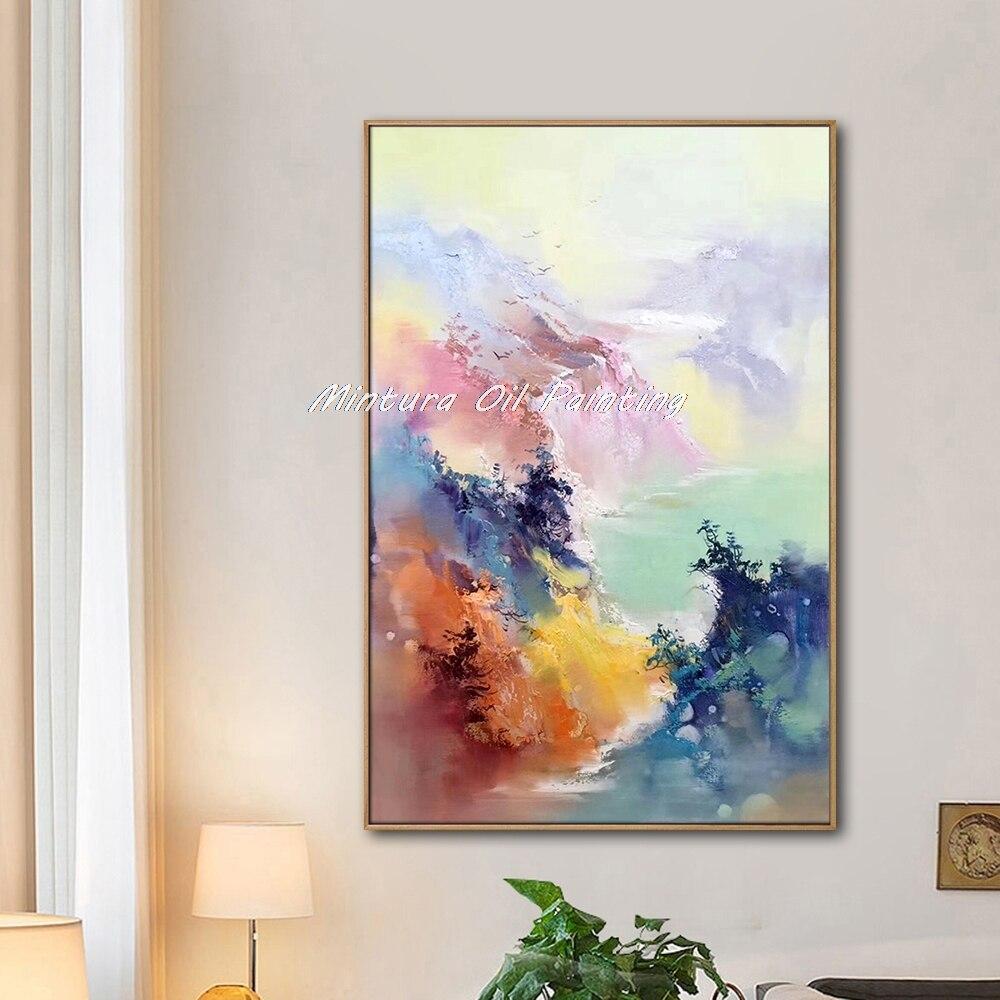 Mintura ручная роспись маслом на холсте красивое Рисование абстрактного пейзажа Настенная картина отель украшение для комнаты без рамки