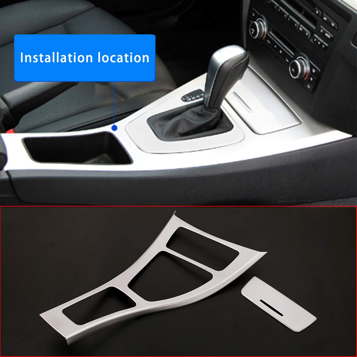 For BMW E90 Automatic Transmission Silver Gear Shifter Surround Frame Cover LHD