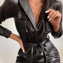 Sexy Tie Waist Faux Leather Jumpsuit Women Winter Autumn Turn Down Collar PU