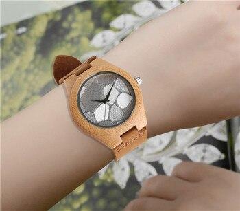 REDFIRE Â�リエイティブ不規則なパターン設計女性ウッド腕時計クォーツムーブメントスタイリッシュなカジュアルレディース本革腕時計