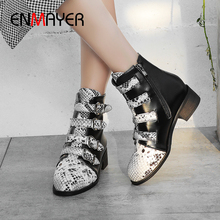 ENMAYER Round Toe PU Hoof Heels Winter Boots Women Zip Med Mixed Colors Short Plush Ankle Boots Buckle Snake Stripe White Shoes цена в Москве и Питере