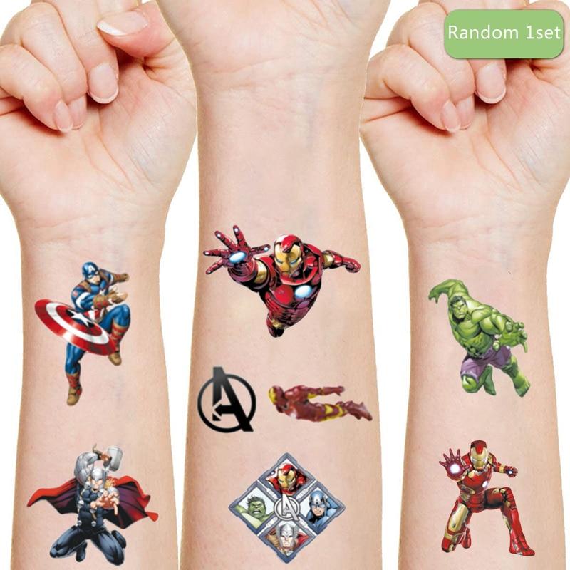 Marvel Iron Man Originales Tattoo Sticker Random 1PCS Action Figure Disney Spider-Man Cartoon Kids Girls Christmas Birthday Gift