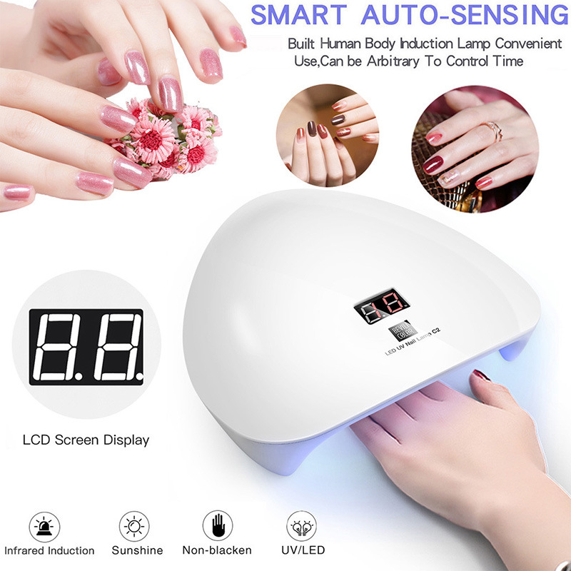 45W UV LED Intelligent Induction Nail Lamp Gel Nail Polish Dryer UV Light Fast Drying Curing Manicure Phototherapy Machine
