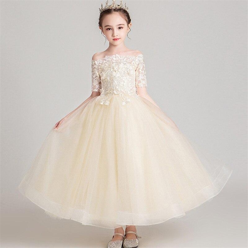 Children Teenagers Fashion Champagne Color Handmade Florals Birthday Wedding Party Princess Long Dress Kids Girls Host Dress