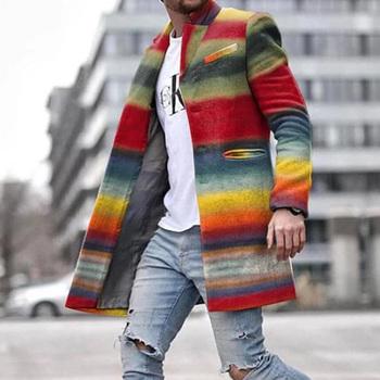 Kolory tęczy mieszanki wełny moda europejska kolorowe paski Plus rozmiar męski płaszcz zimowy wiosna Outwerar przyczynowy Ovrcoat S-3XL tanie i dobre opinie Kinikiss Pełna REGULAR Poliester STANDARD 18770774 Batik Wełna mieszanki NONE Długi Skręcić w dół kołnierz Konwencjonalne