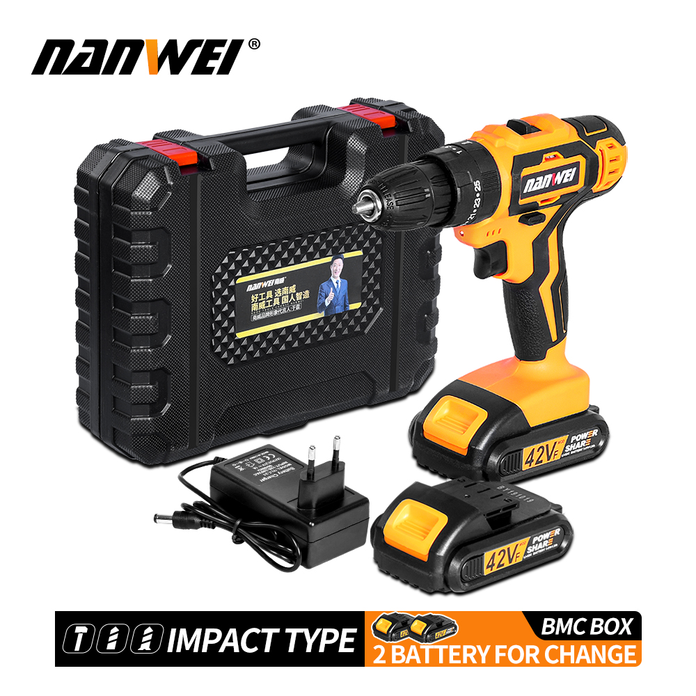 NANWEI New Arrivals Electric Screwdriver Multifunction Power Tools Electric Drill WaterProof Rechargeable Mini Cordless Drill