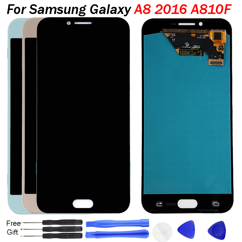 For <font><b>Samsung</b></font> A8 2016 Screen <font><b>LCD</b></font> A8100 <font><b>A810</b></font> A810DS Change OLED Display Touch Screen with Digitizer Assembly for Galaxy A810F <font><b>LCD</b></font> image