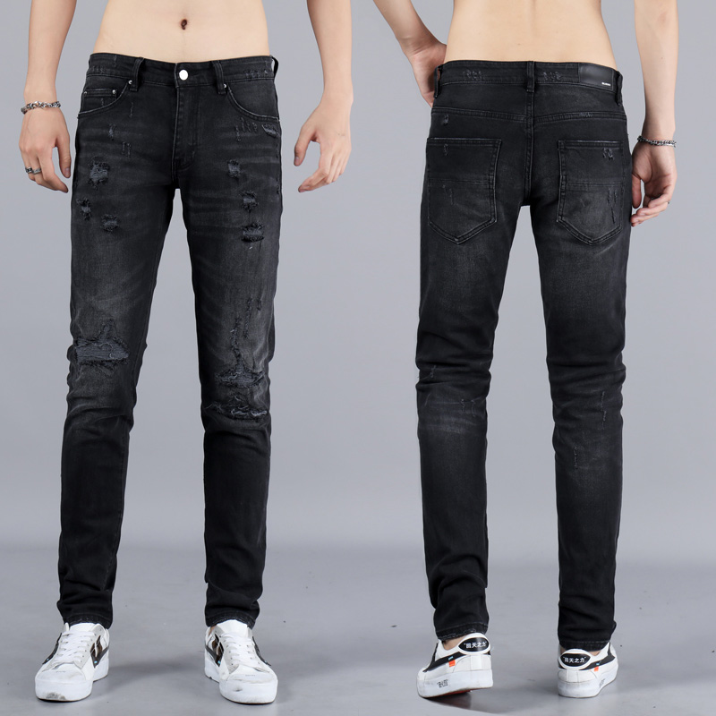 High Street Fashion Men Jeans Vintage Black Color Elastic Ripped Jeans Men Top Quality Brand Designer Hip Hop Skinny Jeans Homme