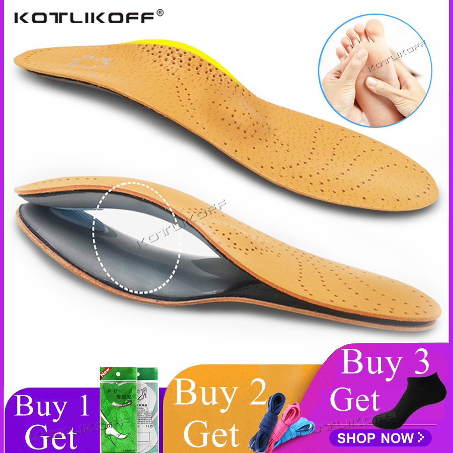KOTLIKOFF 3D Premium healthy Leather orthotic insole for Flatfoot High Arch Support orthopedic Insole Insoles men women shoes image