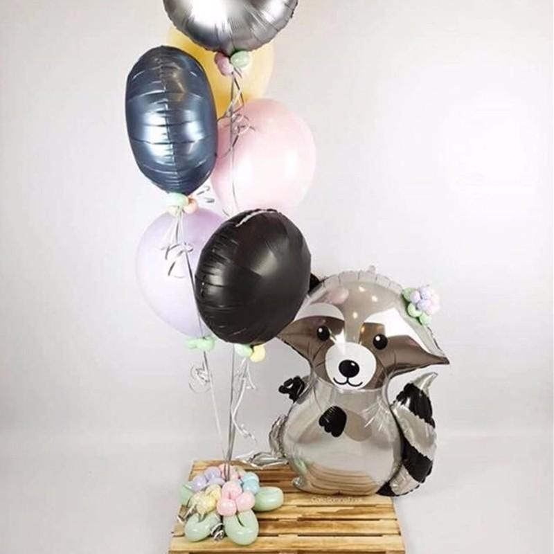 1pc Large Animal Balloons Jungle Party Raccoon And Fox Helium Ballon Happy Birthday Decorations Kids BabyShower Decor Globos