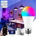 Функция голосового Управление 15 Вт RGB умный светильник накаливания с регулируемой яркостью E27 B22 Wi-Fi LED декоративный светодиодный светильник...