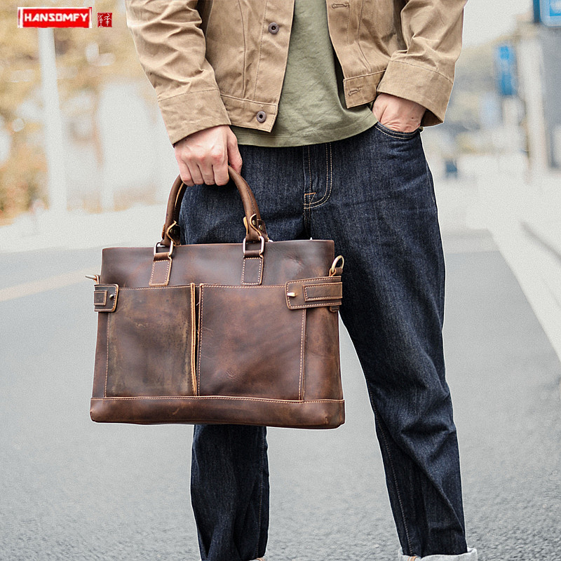 Crazy Horse Leather Men's Handbag Business Casual Laptop Briefcase Vintage Leather Shoulder Messenger Bag Leather Men Tote Bags