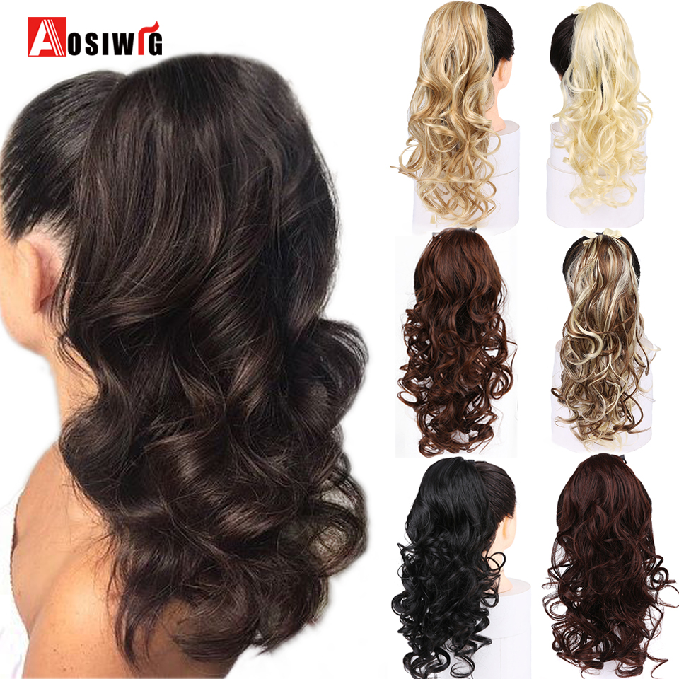 AOSIWIG Synthetic Long Wavy Ponytail Ribbon Drawstring Wrap Around Hair Tail Extension Natural Fake Hairpieces For Women