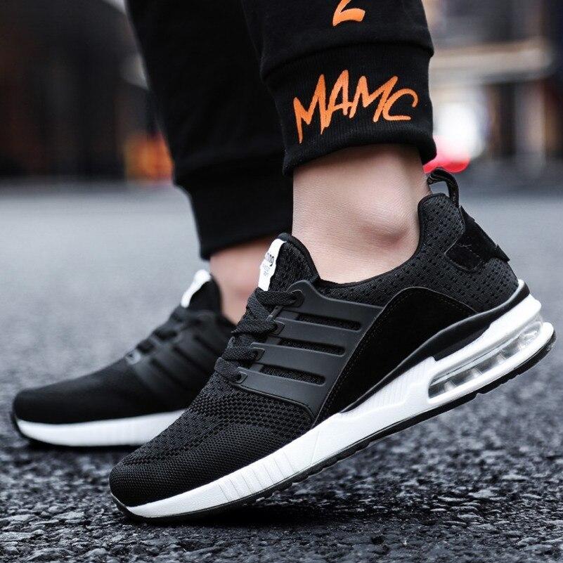 Flarut Men Tennis Shoes Air Cushion Lace Up Men Sport Shoes Breathable Mesh Sneakers Black Tenis Hombre Trainers Athletic ShoesTennis Shoes   -