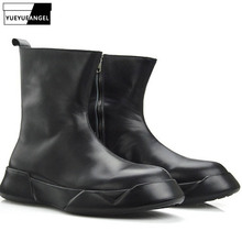 Autumn New Arrival Men Shoes Side Zipper Breathable Genuine Leather Boots Punk For Men Army Boots Round Toe Black Free Shipping