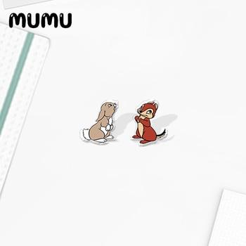 2020 New Cute Bunny Squirrel Stud Earring Blue Bird Acrylic Shrinky dinks Earrings Epoxy Jewelry Girls Women - discount item  35% OFF Fashion Jewelry