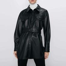 В стиле «панк» из искусственной кожи куртка с поясом для женщин