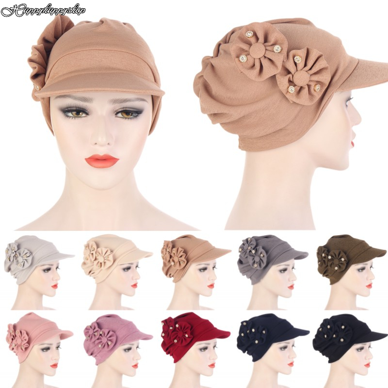 Elegant Women 3D Floral Peaked Cap Outdoor Casual Curved Brim Visor Hats Hair Cover Chemo Cancer Turban Female Headwear