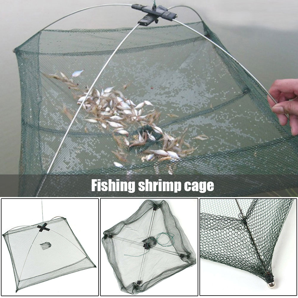 US Fishing Mesh Net Portable Folding Cage Quick-drying Fish Container Outdoor
