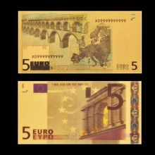 Billete de oro de 24k, papel de moneda europea, colección de dinero de lámina de oro Euro 5 con cápsulas protectoras