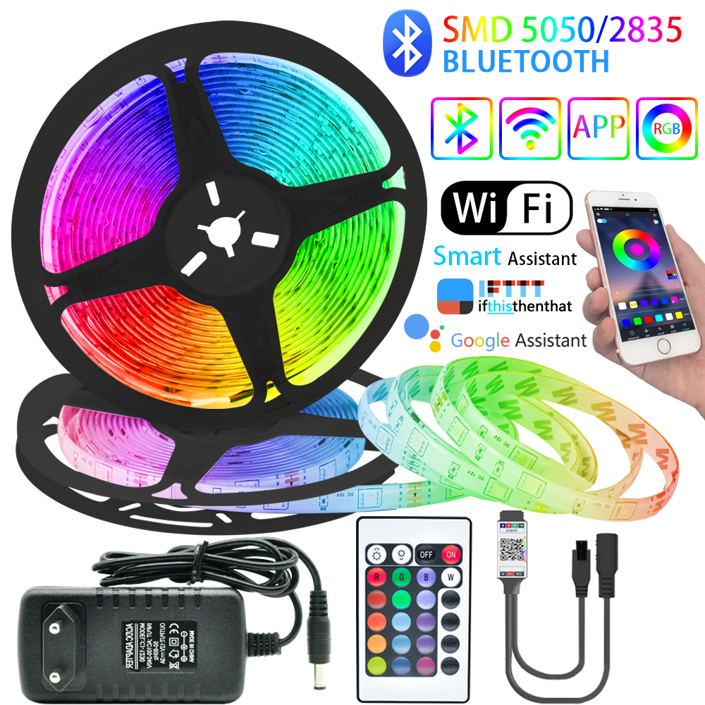 Diode-Tape Ribbon Led-Strip-Lights Decoration Computer Wifi-Controller Bedroom Bluetooth