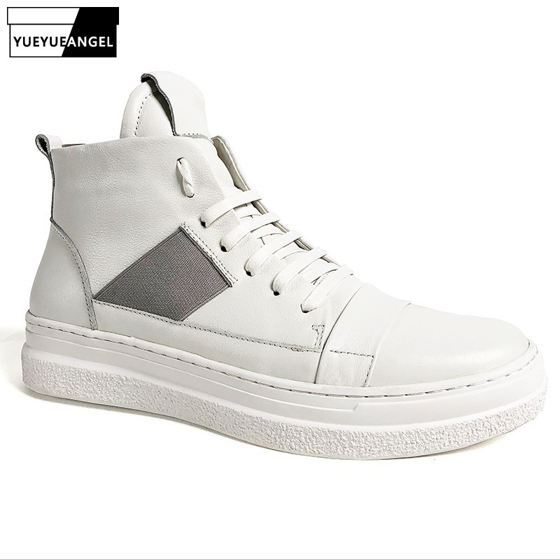 Luxury Genuine Leather High-Top Shoes Men Street Breathable Lace Up White Sneakers Hip Hop Casual Flat Shoes Zapatos De Hombre