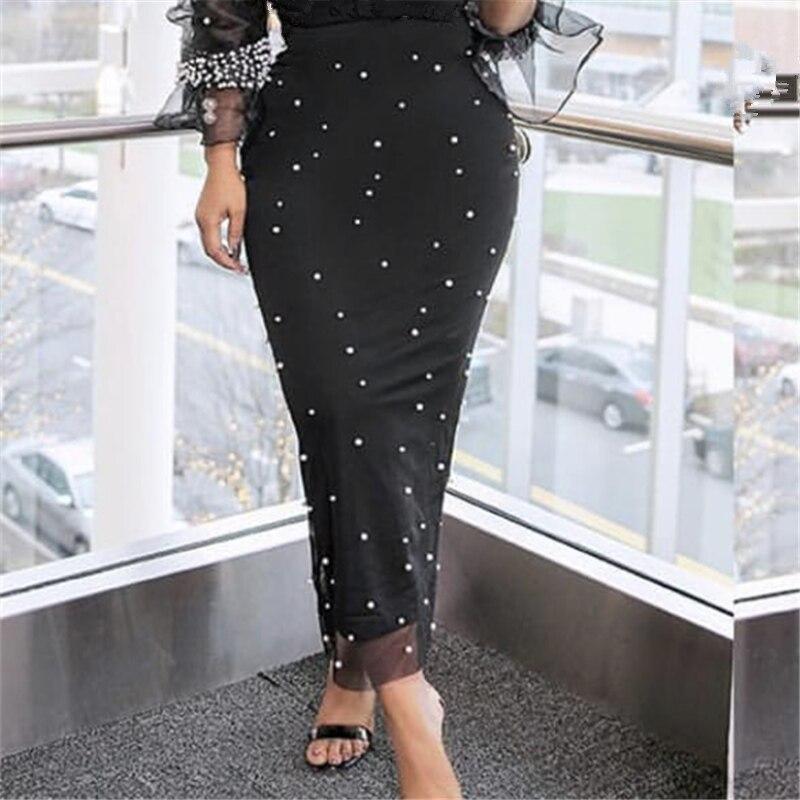 Women Black Pencil Skirts Long High Waist Slim Mesh Beading Modest Classy Female Package Hip Jupes Falad Office Elegant Fashion