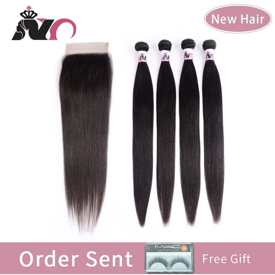 NY Hair Straight 4 Bundles With 4*4 Closure Peruvian Straight Weave Bundles With Closure Natural Black Human Hair Extension