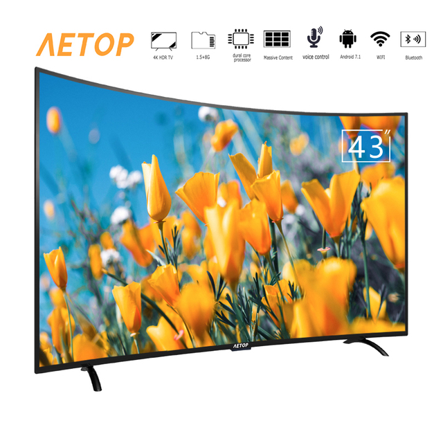Free shipping- 43 inch tv 4k ultra hd television android samrt curved screen tv with remote control