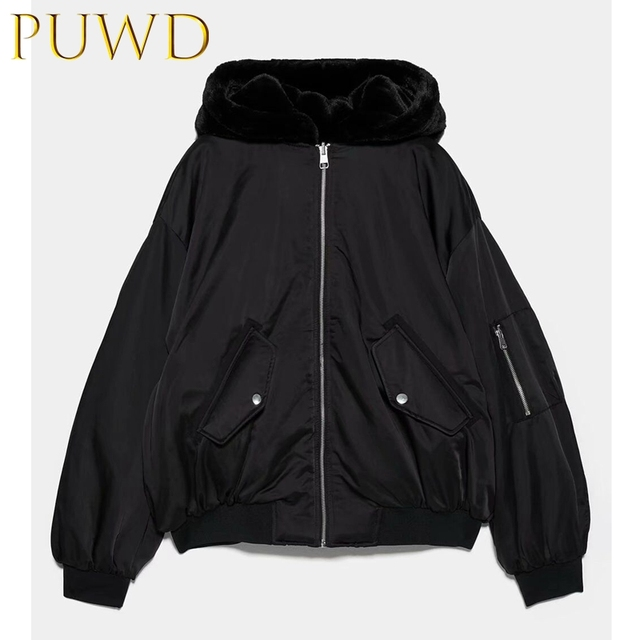 $  PUWD 2019 Autumn and winter new style fur like hooded women's double-sided jacket