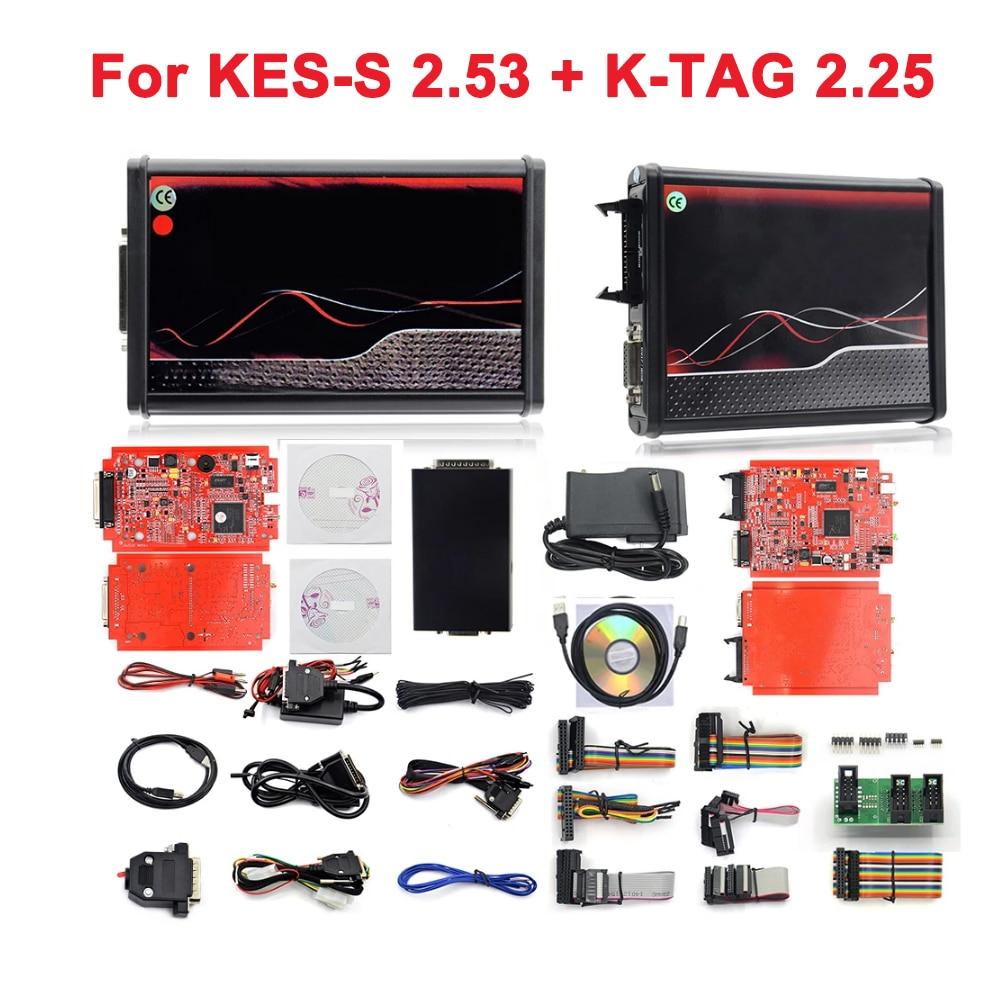 Программатор KESS V5.017, ECU OBD2 автомобиль/грузовик, 4 светодиодный, V2.47/V2.53 ECM Titanium KTAG V2.25