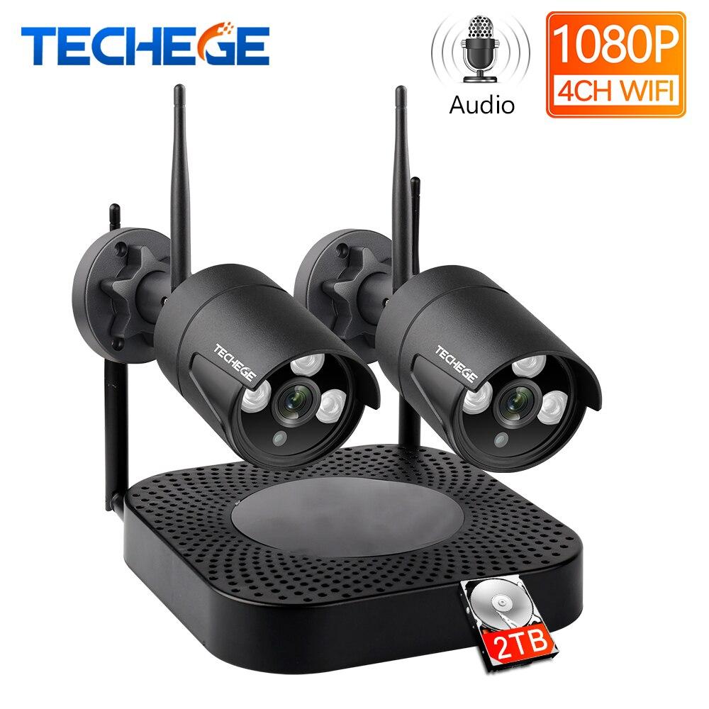 Techege H.265 4CH 2 peças do Sistema de CFTV 960 P/1080 P NVR Kit HD de Áudio Sem Fio Ao Ar Livre Segurança À Prova De Água câmera IP WIFI CCTV Sistema