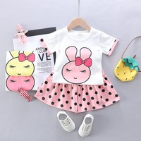Baby Girls Clothes Set Summer Casual Short Sleeve O neck Cotton Clothing Set Baby Girl T shirt Cartoon Clothes Outfits