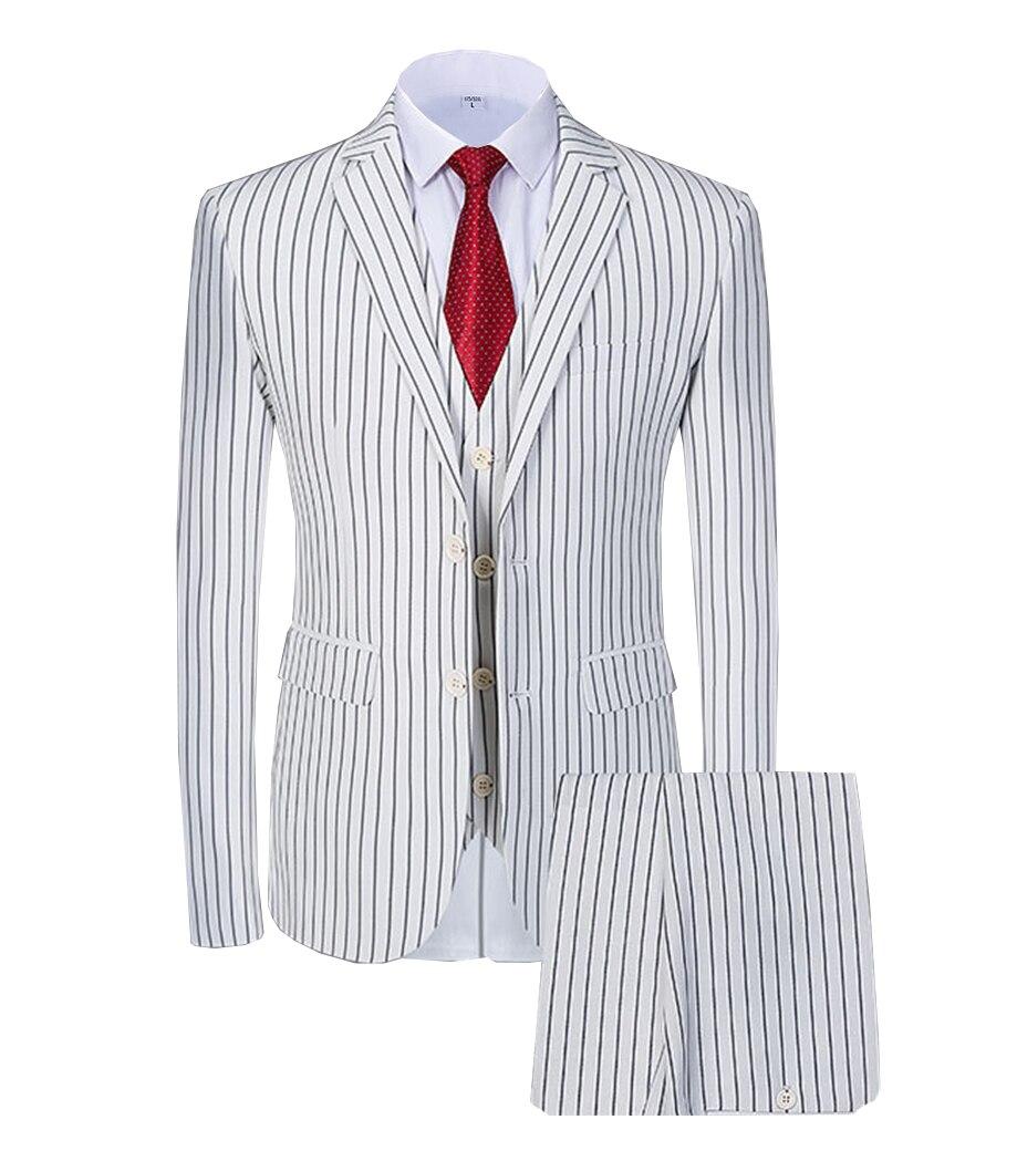 Solovedress 3Pieces Stripes Blazer Vest Notched Lapel Tuxedos Mens Prom Wedding Pinstripes Suit Slim Fit Formal Premium Tailcoat