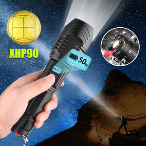 XHP90 LED Flashlight Torch Light Rechargeable 18650 Lamp Ultra Bright LCD Design Wide-angle Flashlight With Safety Hammer